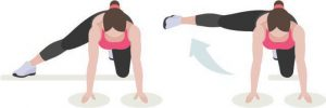 Image result for woman doing Bent Over Lateral Single Leg Raises